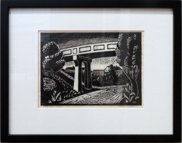 Dietrich Neufeld | PLUM STREET BRIDGE | linoleum block print on paper| 8-1/4 x 11-1/4"