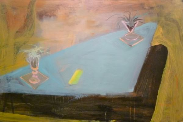 Larry Shineman | STILL LIFE ON TRIANGLE TABLE | 32 x 48 | mixed media | 2012