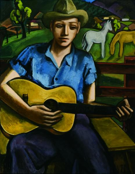 Lucius Kutchin (1901-1936) | BOY WITH GUITAR- SANTA FE | 1936 | oil on canvas | 42 x 34"