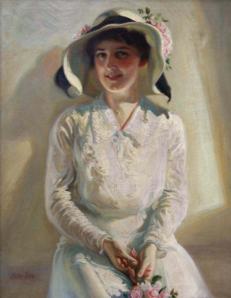 1972.003 | Walter Tittle | LADY IN WHITE | oil on canvas | 36 x 28"