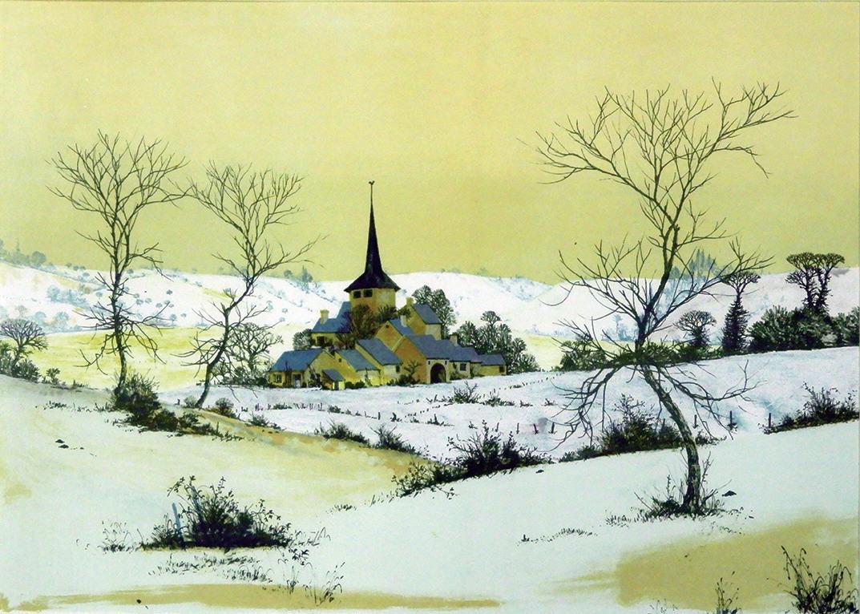"1976.007 | Albert Drachkovitch | VILLAGE IN THE SNOW | silkscreen print on paper | 16 x 21.5"" | 1973 | Gift of Art Appraisal and Information, Inc."