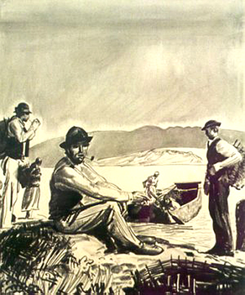 George Bellows | MEN ON A CRAGGY BEACH | charcoal on paper | 12 x 10"