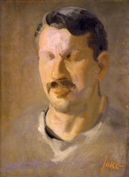 George Luks | STUDY PORTRAIT OF A MAN | oil on canvas (unfinished) | 13-3/4 x 9-3/4"