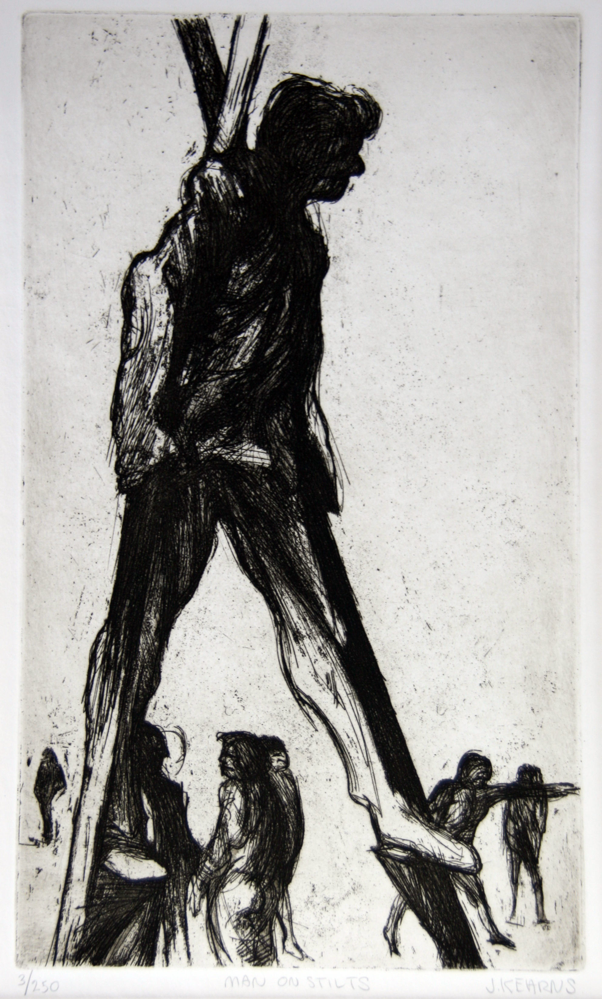 1981.016 | James Kearns | MAN ON STILTS | etching on paper | 17.5 x 13"
