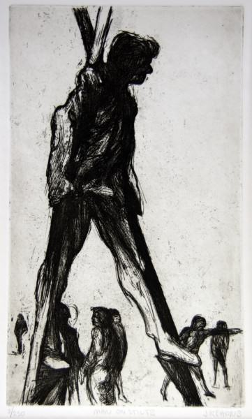 1981.016 | James Kearns MAN ON STILTS | etching on paper | 17.5 x 13"