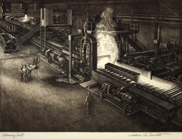 1981.031 | Jackson Lee Nesbitt | BLOOMING MILL | etching on paper | 12 x 18"