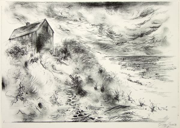 1981.076 | George Grosz | STORM CLOUDS, CAPE COD | lithograph on paper | 9-1/2 x 13-1/2"