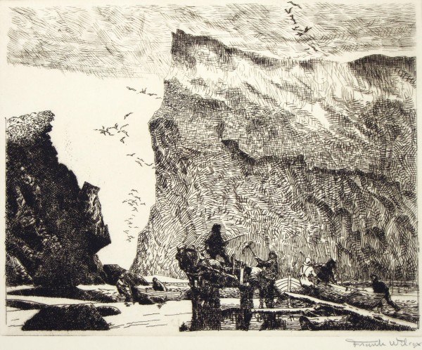 1981.078 | Frank Nelson Wilcox | FISHERMEN OF PERCE, PROVINCE OF QUEBEC, CANADA | etching on paper | 7-7/8 x 9-7/8"