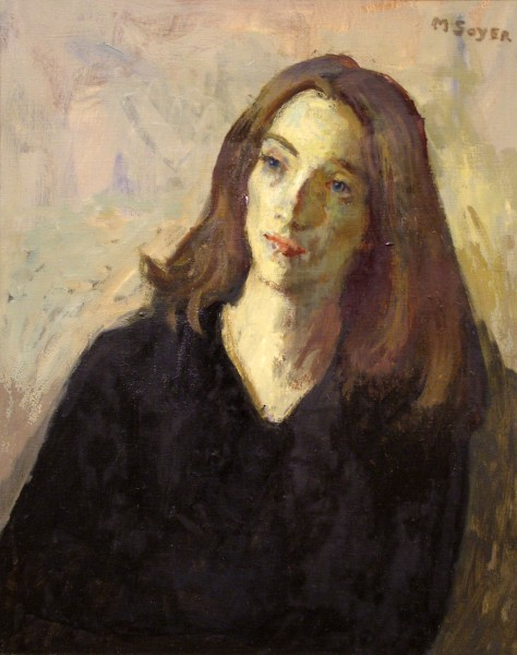 Moses Soyer | MODEL IN BLACK | oil on canvas | 25 x 20"