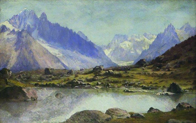 "1982.002 | Godfrey Nicholas Frankenstein |  THE ALPS, SWITZERLAND |oil on tin panel | 7-7/8 x 11-7/8"" | c.1850-60 | Gift of Mrs. Mary McGregor Miller"