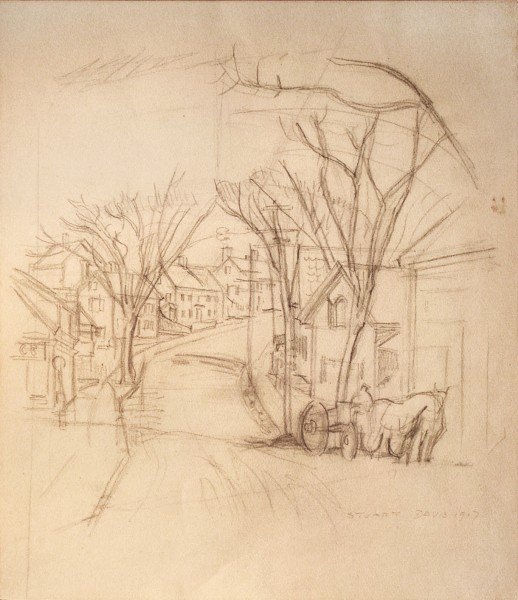 Stuart Davis | MAIN STREET, GLOUCESTER | pencil on paper | 16 x 14"