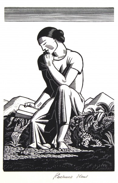 1983.007 | Rockwell Kent | READER | wood engraving on paper| 5-3/4 x 4"