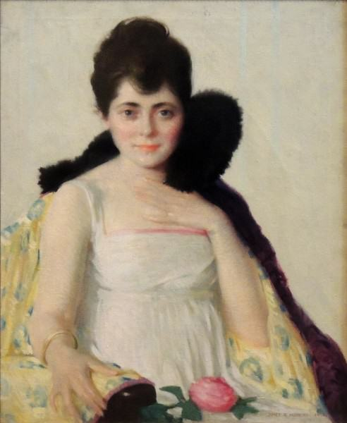1983.062 | James Roy Hopkins | PORTRAIT OF A GIRL (THE PINK ROSE) | oil on canvas | 31-1/2 x 25-1/2"