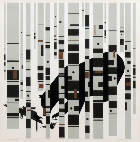 1984.116 | Charley Harper |  BEAR IN THE BIRCHES | serigraph on paper | 23 x 22-1/2"