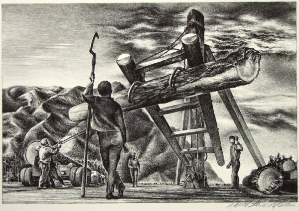 1986.014 | David Stone Martin | HIGHLAND LOGGING | lithograph on paper | 9-1/2 x 13-7/8"
