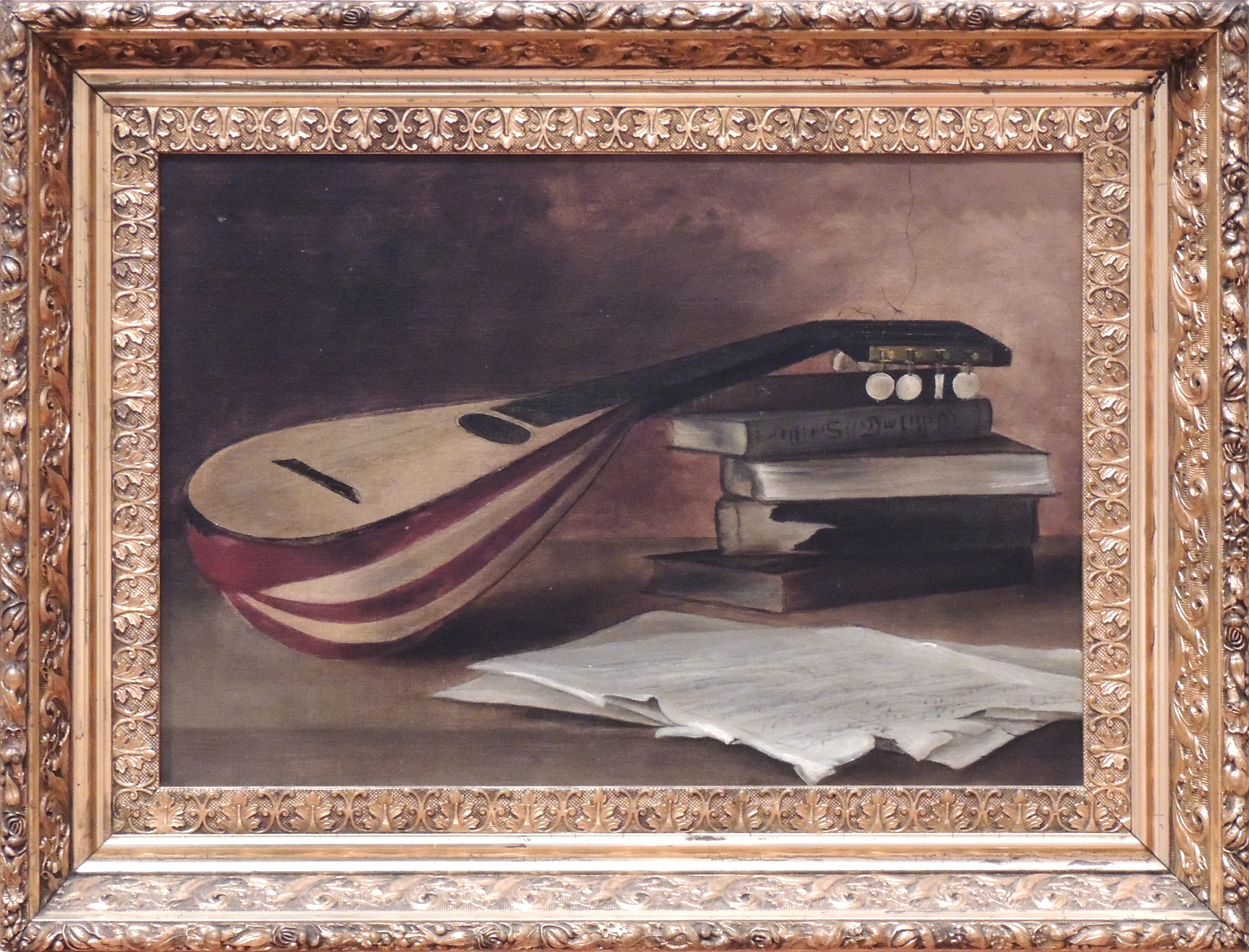 1986.0145 | American | STILL LIFE WITH MANDOLIN | oil on canvas | undated | Gift of the estate of Helen Bosart Morgan