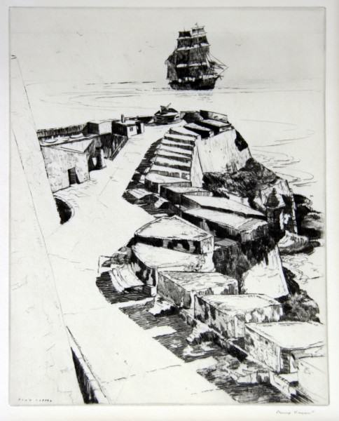 1986.018 | Philip Kappel | OFF EL MORRO, PUERTO RICO | lithograph on paper | 9.75 x 7.875"