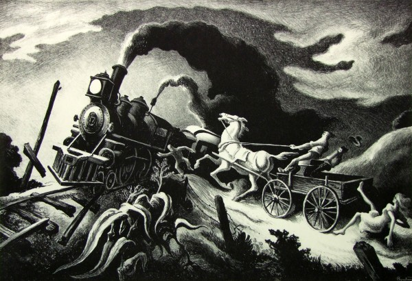 1986.060 | Thomas Hart Benton | WRECK OF THE OLD '97 | lithograph on paper | 10-3/8 x 14-7/8"