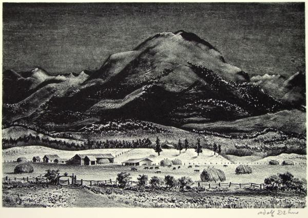 1986.062 | Adolf Dehn | BLACK MOUNTAIN | lithograph on paper | 8-7/8 x 13"