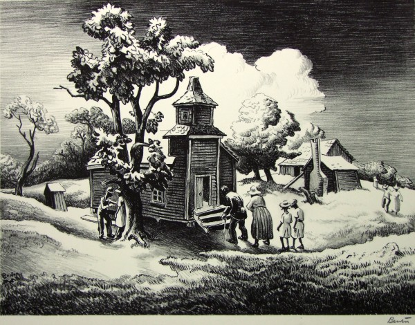 1986.067 | Thomas Hart Benton | SUNDAY MORNING | lithograph on paper | 9-1/2 x 12-5/8"