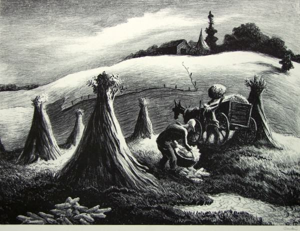 1986.074 | Thomas Hart Benton | LOADING CORN | lithograph on paper | 9-1/2 x 12-3/4"