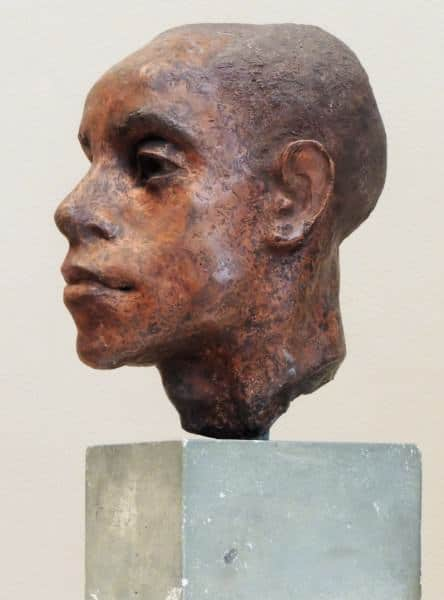 1986.108 | Helen Bosart Morgan | BUST OF AN AFRICAN-AMERICAN MALE | terracotta | 8-3/4 x 6 x 7-1/2"