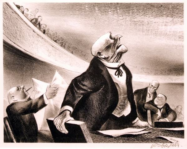 1986.135 | William A Gropper | POLITICIAN DEBATING | lithograph on paper | 13-3/4 x 17-1/2"