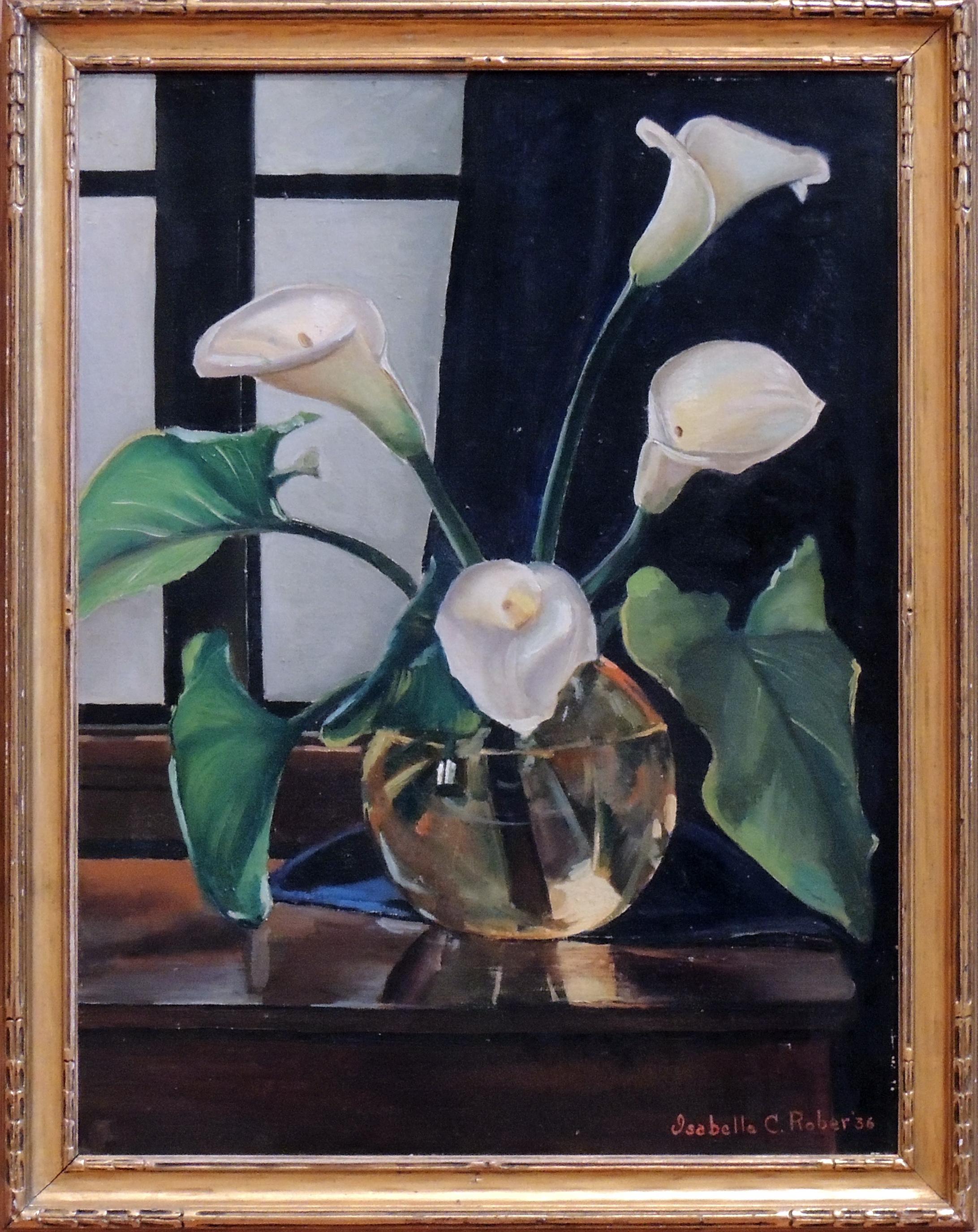 "1986.147 | Isabella Chittenden Rober | CALLA LILIES | oil on canvas | 24 x 18"" | 1936 | Gift of Mrs. Preston Crabill"
