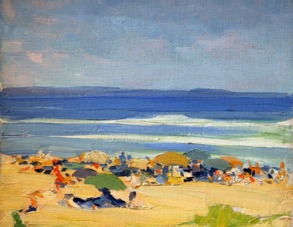 Beatrice Whitney Van Ness | OGUNQUIT BEACH SCENE | oil on canvasboard | 10-3/4 x 14"