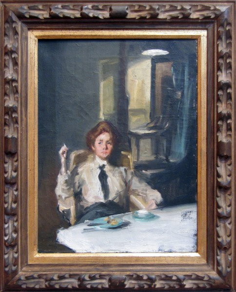 1989.055 | Harriet Woodfin Titlow | GIRL WITH CIGARETTE (THE MODEL'S BREAK) | oil on canvas | 16 x 12"