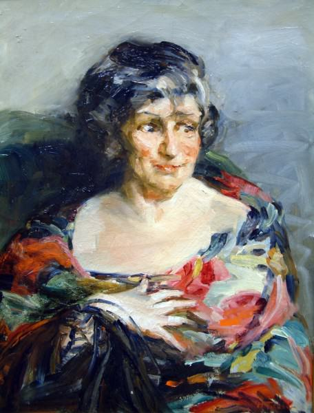 1989.058 | Harriet Woodfin Titlow | WOMAN IN THE BRIGHT SHAWL | oil on canvas | 28 x 22"