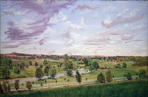 1989.063 | Gustavus Frankenstein | VIEW FROM MITCHELL HILL, LOOKING TOWARDS LAGONDA VILLAGE | oil on canvas | 19.5 x 28.5"