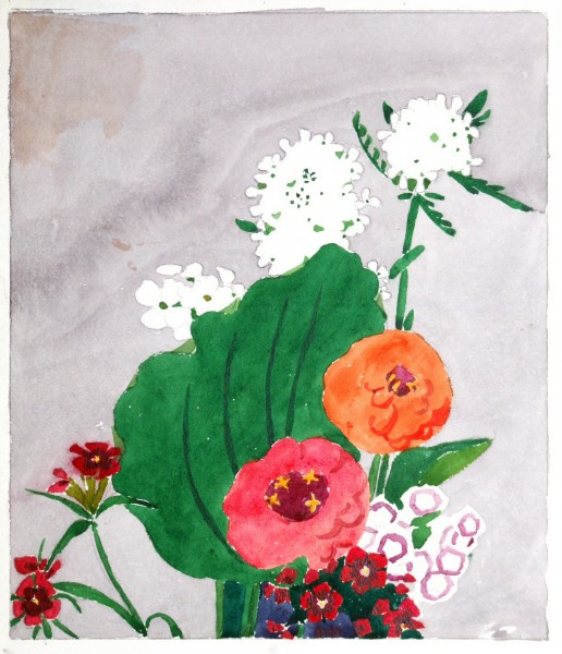 Edna Boies Hopkins |  ZINNIAS AND SWEET WILLIAM | watercolor on paper | 9.5 x 8.25"
