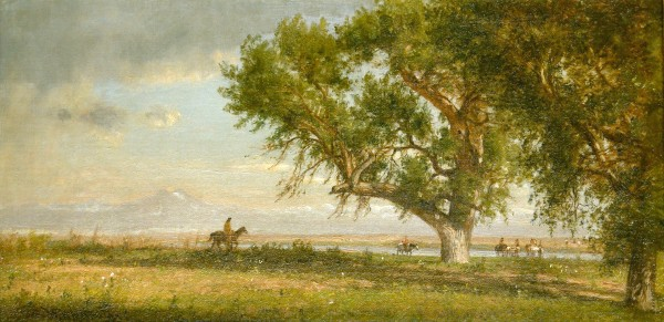 Thomas Worthington Whittredge | VIEW ON THE PLATTE RIVER | oil on canvas | 6 x 12 | c.1871