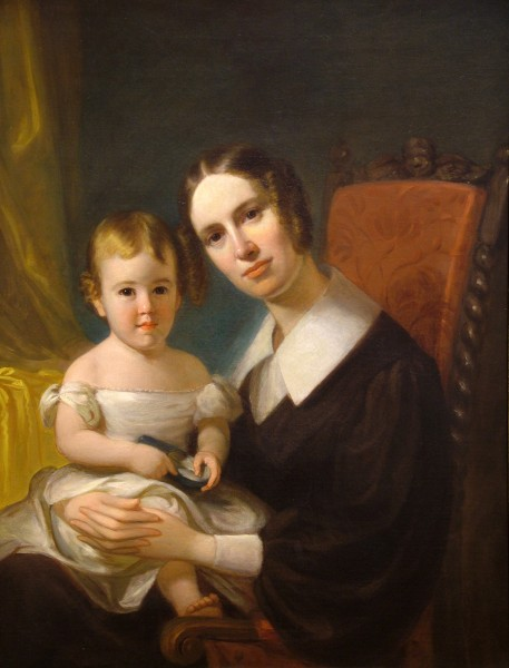 Henry Inman | PORTRAIT OF ANNA BLOODGOOD AND HER DAUGHTER | oil on canvas, mounted on board | 35-1/2 x 28"