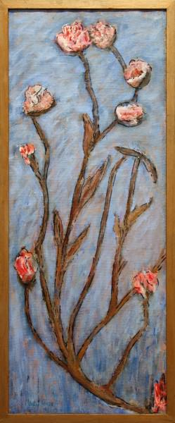 1994.036 | Mary Leyman Cover | FLOWERS | oil and mixed media on burlap | 37 x 15"
