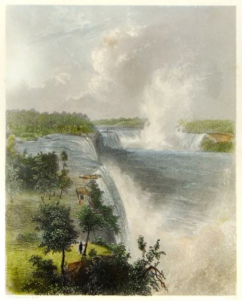 1994.068 | Godfrey Nicholas Frankenstein | NIAGARA FALLS | engraving on paper, with hand-coloring | undated | museum purchase