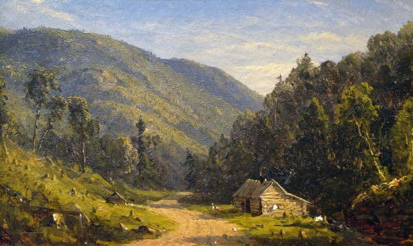 Sanford Robinson Gifford | HOMESTEAD IN THE MOUNTAINS | oil on canvas | 7-1/2 x 13"