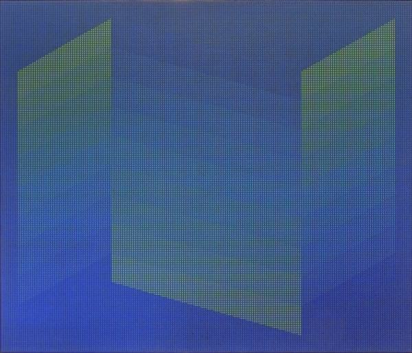 1996.023 | Julian Stanczak | MIDNIGHT BLUE | acrylic on canvas | 60 x 70"