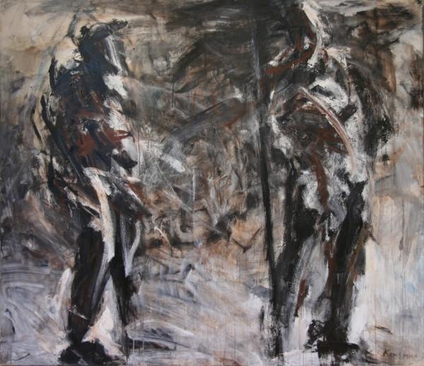 Bukang Kim   DUO    acrylic on canvas   84 x 96   1994