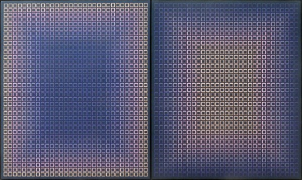"1998.001 | Julian Stanczak | DARK DUO (DIPTYCH) | acrylic on canvas | (two panels) 38 x 32"" each 