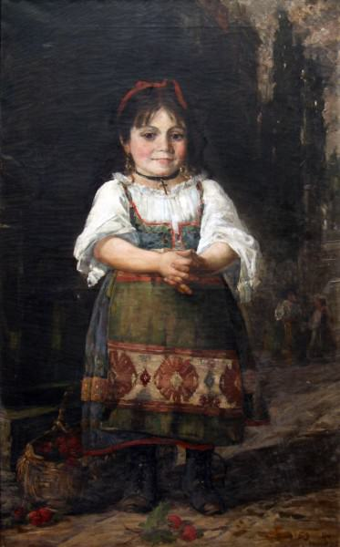 1998.002 | Silas Jerome Uhl | THE STRAWBERRY GIRL | oil on canvas | 45-1/2 x 28-1/2"