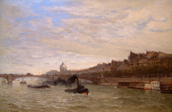 Frank Meyers Boggs | VIEW ALONG THE SEINE | oil on canvas | 21-1/2 x 32"