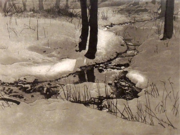 1999.005 | Robert Houston Whitmore | WINTER BROOK I | etching and aquatint on paper | 15 x 16"