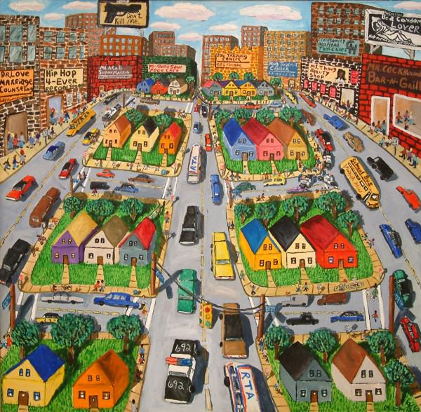 Michelangelo Lovelace | LIVING FOR THE CITY | acrylic on canvas | 66 x 69-1/2"