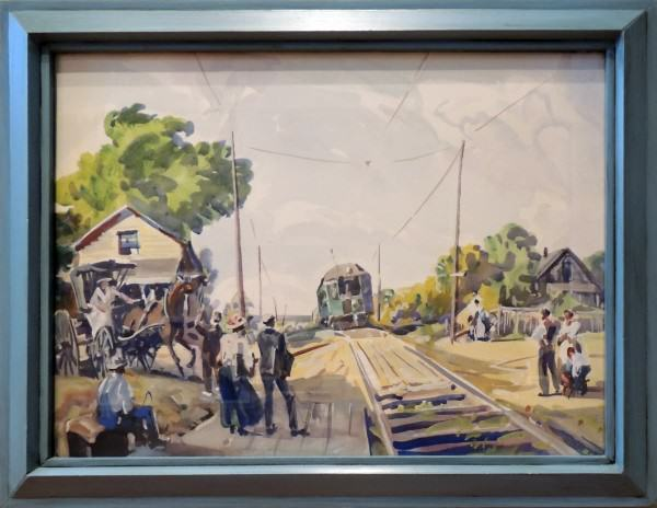 2003.004 Frank Nelson Wilcox | INTERURBAN, INDEPENDENCE, OHIO | watercolor on paper | 21.252 x 29.25"