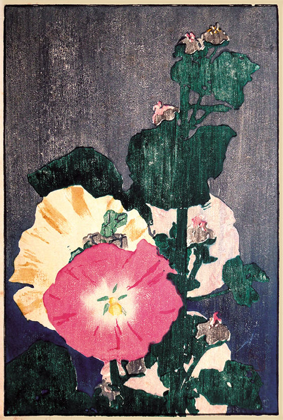 2003.005 | Edna Boies Hopkins | HOLLYHOCKS | color woodblock print on paper | 10-7/8 x 7-3/8"