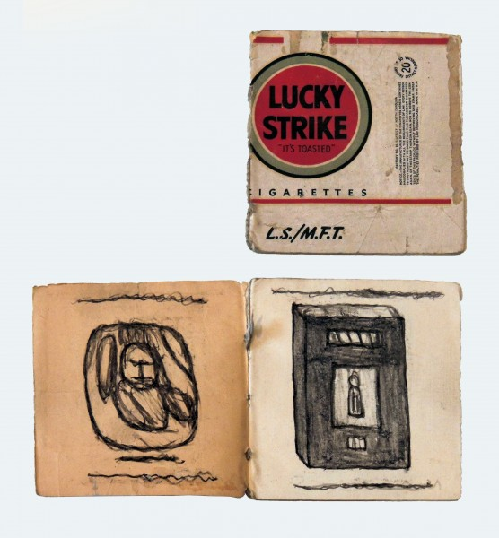 2005.001 | James Castle | UNTITLED  (LUCKY STRIKE BOOK) | graphite and soot on paper | 3-3/8 x 3-1/8"