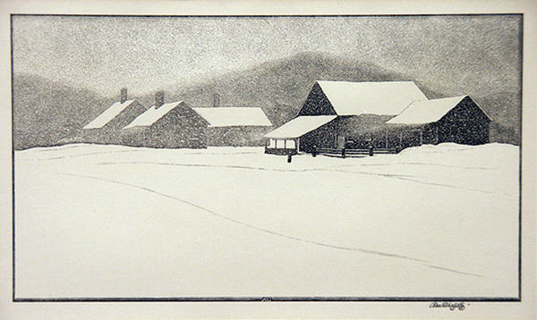 2005.005 | Asa Cheffetz | WNTER WEATHER | wood engraving | 5 x 9"