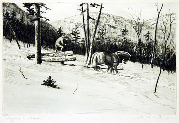 2005.005 | Churchill Ettinger | LOGGING IN VERMONT | etching | 7.5 x 11.5"